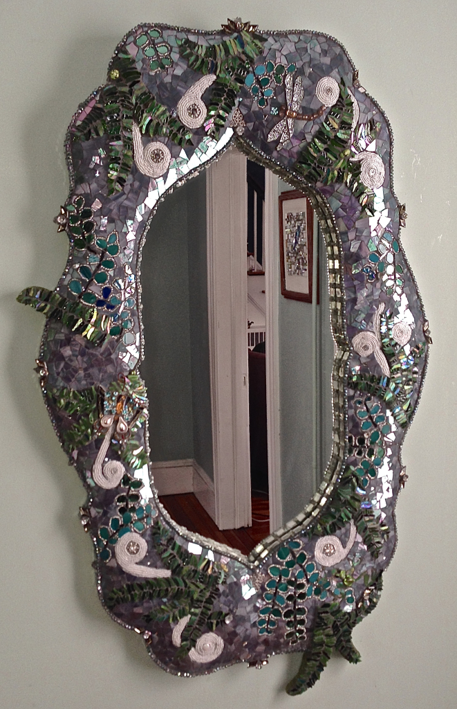 """FERN"" hand sculpted 3D mirror base with crystal, beads, stained glass, rhinestones, Russian china,  mirror, found objects."